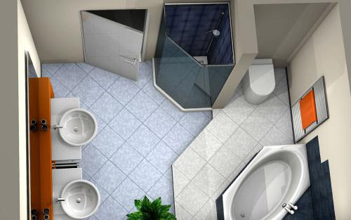 3D Badplanung: Bild eines Badezimmers aus der Vogelperspektive