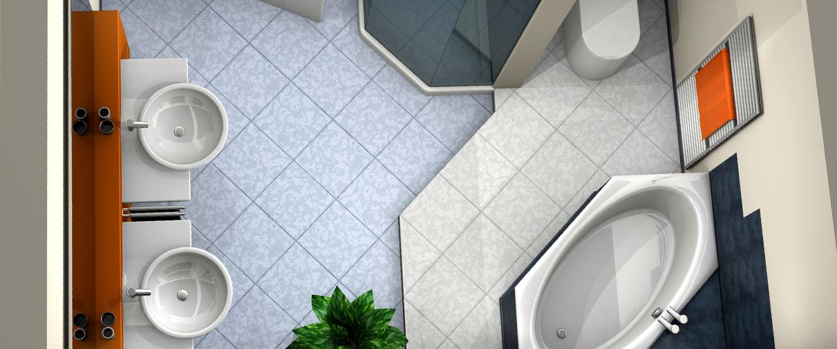 Ein Bild mit einem Bad von oben - 3d-Badplanung
