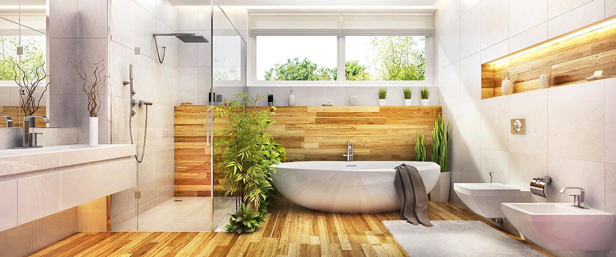 Foto Badezimmer mit Holzfussboden